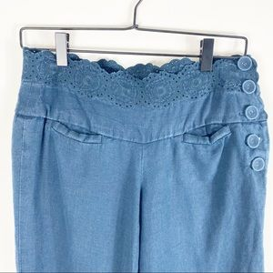Elevenses Eyelet Lace Waistband Linen Capri Pants